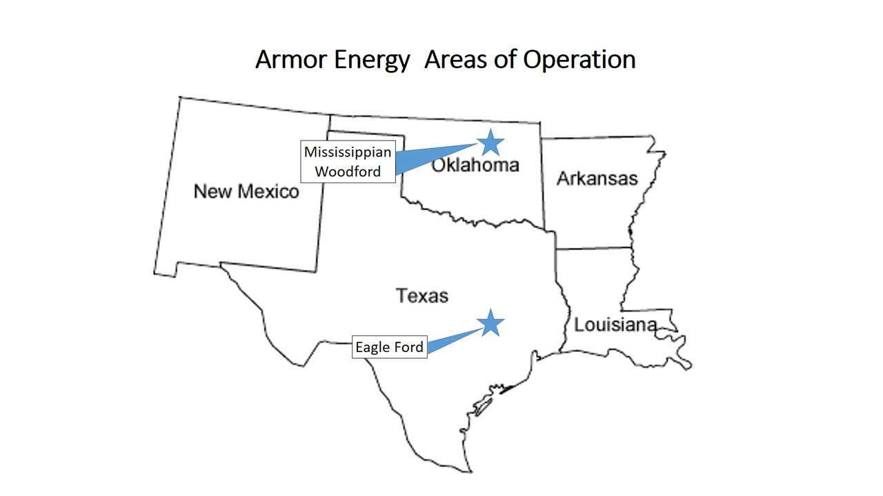 Armor Area of Service, Mississippian Woodford, Oklahoma, Eagle Ford Texas