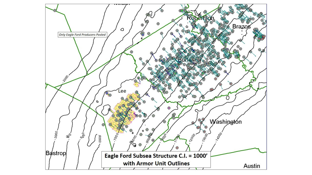 Eagle Ford Subsea Structure C.I. = 1000' with Armor Unit Outlines